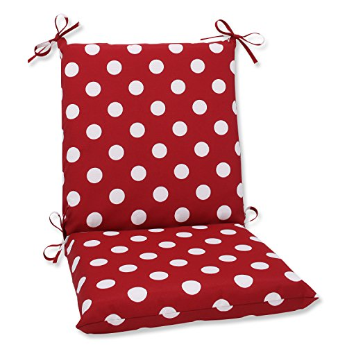 Pillow Perfect Indoor/Outdoor Red/White Polka Dot Chair Cushion, Squared