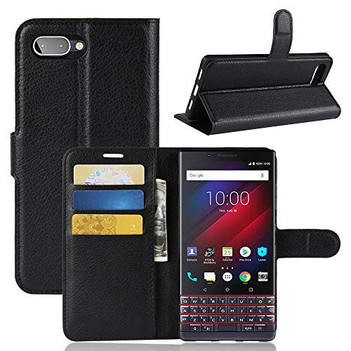 LuckQR Flip Phone Cover for BlackBerry KEY2 LE Luxury PU Leather Wallet Case, with Credit Card & Cash Slot, Folding Kickstand, Magnetic Clasp Closure Phone Case for BlackBerry KEY2 LE - Black