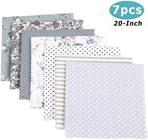 Cotton Craft Fabric Bundle Patchwork, 7pcs 20-inch Squares Quilting Sewing Patchwork Different Pattern Cloths DIY Scrapbooking Artcraft (Gray)