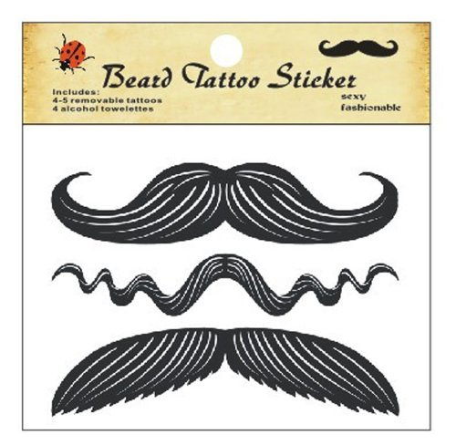 Dingword Store Xmas Cute Funny Removable Mustache Goatee Beard Tattoos Stickers