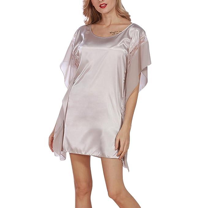 Oudan Pijama Mujer Sexy de Verano,Cuello Redondo, Ropa de Dormir de Encaje con