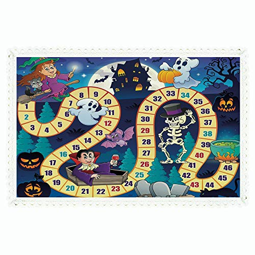 iPrint Board Game,Rectangle Polyester Linen Tablecloth/Halloween Theme Symbols Happy Witch Girl Vampire Ghost Pumpkins Happy Comic/for Dinner Kitchen Home -