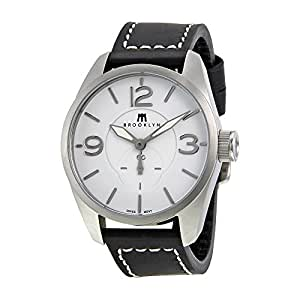 Brooklyn Watch Co. Lafayette White Dial Black Leather Swiss Quartz Mens Watch CLA-D