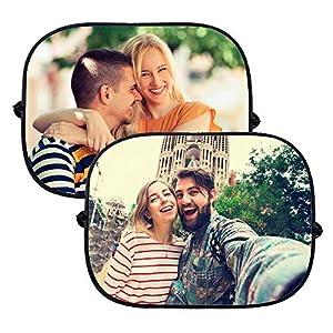 APRIL Pack de 2 parasoles de Coche Personalizados con la Imagen y el Texto Que tu Quieras 10