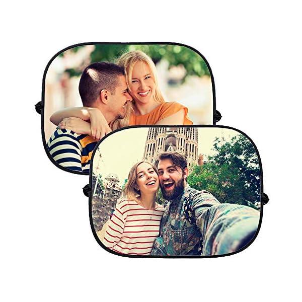 APRIL Pack de 2 parasoles de Coche Personalizados con la Imagen y el Texto Que tu Quieras (Pack de Dos parasoles) 2