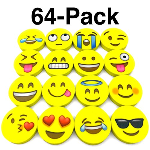 Emoji Erasers, OHill Pack of 64 Pack Emoji Pencil Erasers 16 Emoticons Novelty Erasers for Party Favors School Classroom Prizes Rewards -