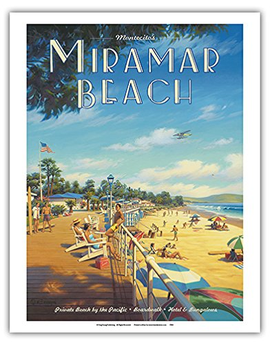 Montecito Poster (Miramar Beach Hotel - Montecito, California - Private Beach by the Pacific - Vintage Style World Travel Poster by Kerne Erickson - Fine Art Print - 11in x 14in)