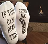 """""""If You Can Read This Bring Me Chocolate"""" Luxury Cotton Novelty Socks - Best Fun Secret Santa Gag Gift for Women or Unisex- Funny White Elephant Gift Idea"""