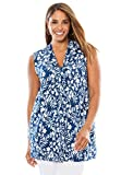 Jessica London Women's Plus Size V-Neck Tank with Knot Front Dark Cobalt Mini