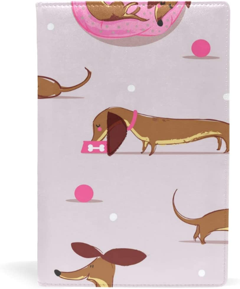 Funny Dachshund Pattern Book Covers Leather School Office Notebook Textbooks Paperback Hardcove A5 5.8 x 8.7 for Girls Boys