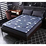 GJFLife Thickened Flannel Tatami Mattress Protector Futon, Collapsible Bedroom Bed mats Mattress Topper Breathable Floor Sleeping pad-G 135x200x5cm