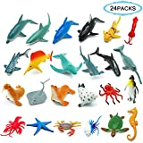 THREE BEARS Sea Ocean Animals,Plastic Animal Toy Set 24Pcs Display Model Play Set,Plastic Animal Figures Educational Toys for Boys and Girls