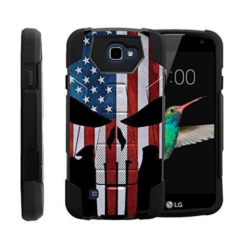 MINITURTLE Case Compatible w/ Case for LG K4, LG Rebel LTE[SHOCK FUSION] Shockproof Hybrid Stand Case for LG Optimus Zone 3, LG Spree w/ Stand American Flag Skull ()