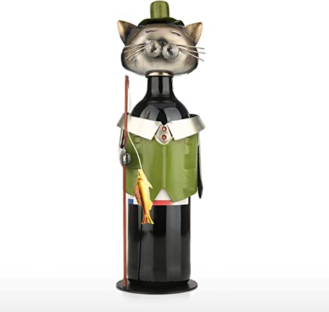 Soporte para Botella de Vino de Gato de Pesca Aajeau, para Botella de Vino, para Gato o para decoración de Vino: Amazon.es: Hogar