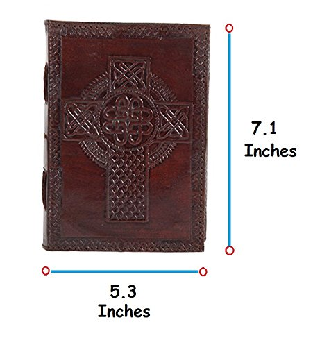 RUSTIC TOWN Handmade Vintage Antique Look Genuine Leather Bound Christian Catholic Journal Diary Notebook Travel Book with blank Unlined Pages to write for Men Women Gift for Him Her Celtic Cross