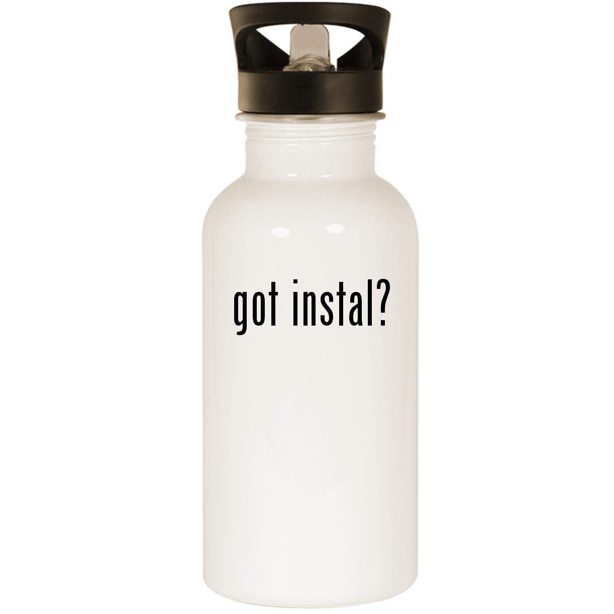 got instal? - Stainless Steel 20oz Road Ready Water Bottle, White