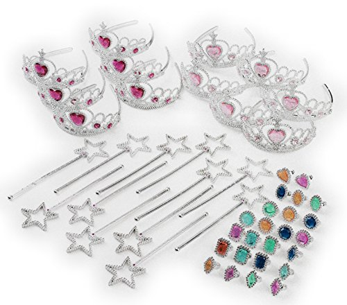 Princess Pretend Play Set - Easter Tiara Dress Up Play Set - Crowns, Wands, and Jewels - Princess Girls Party Favors - Princess Costume Party Play Set, (12 Princess Crown Tiaras, 12 Wands, 24 Rings) ()