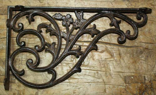 (JumpingLight 4 Cast Iron Antique Style Huge Daisy Vine Brackets Garden Braces Shelf Bracket Cast Iron Decor for Vintage Industrial Home Accessory Decorative Gift )