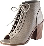 Soda Women's Joanna Lace Up Front Peep Toe Stacked Chunky Heel Bootie (8.5 B(M) US, Cement)