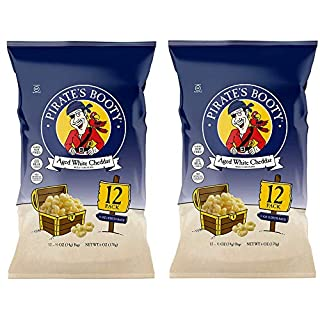 Pirate's Booty Aged White Cheddar Pirate's Booty Puffs ,0.5 oz (Pack of 12) (Тwo Рack)