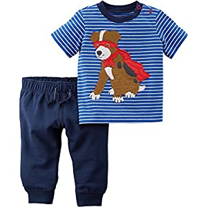 Carter's Boys' 2 Piece Short Sleeve Striped Super Dog Tee and Knit Joggers Set 24 Months
