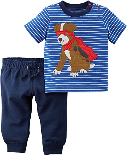 Carter's Boys' 2 Piece Short Sleeve Striped Super Dog Tee and Knit Joggers Set 12 Months (Carters Set Knit)