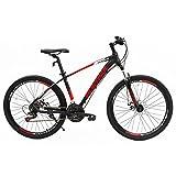 Uenjoy Murtisol 26'' Mountain Bike 21 Speed Aluminum Frame Hybrid Bicycle Disc Brake Shimano Derailleur Red Black
