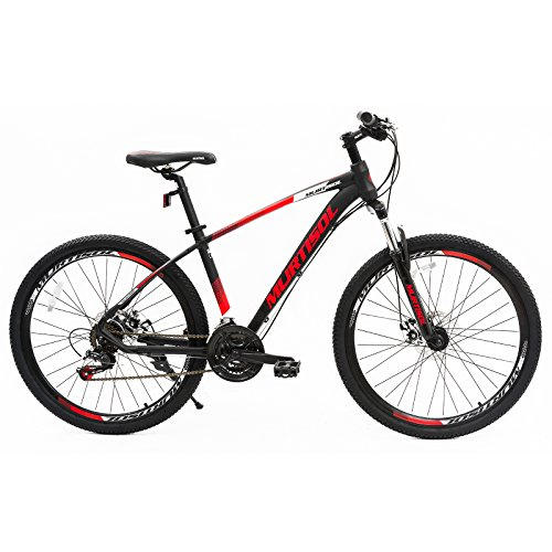 Murtisol 27.5' Mountain Bike 21 Speeds Bicycle Disc Brake Steel Frame Red Black