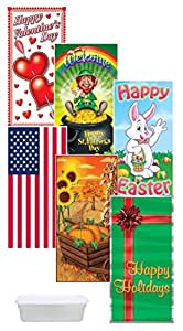 Entire Year of Seasonal Plastic Door Covers - Valentines, St. Patrick's, Easter, Flag (Memorial Day & 4th of July), Fall (Halloween & Thanksgiving) & Happy Holidays (Christmas) + Case