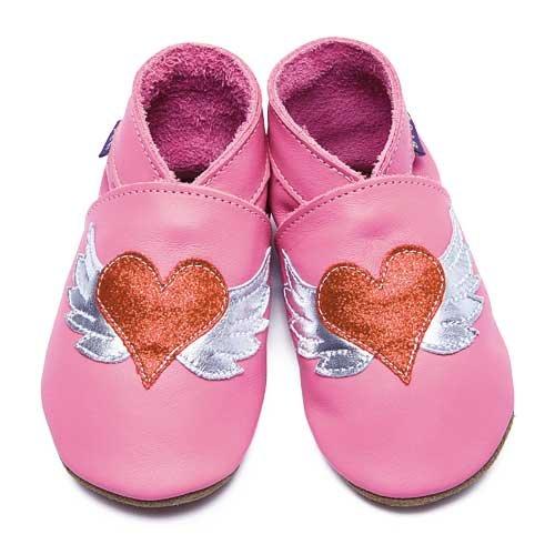 Inch Blue - 1804 L - Chaussures Bébé Souples - Tattoo Heart - Rose - T 20-22 cm - 12-18 mois