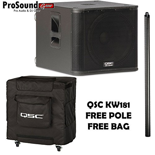 QSC KW181 1000 Watts Powered Subwoofer - Free KW181 Pole and KW181 tote (ProSoundGear) Authorized Dealer by QSC