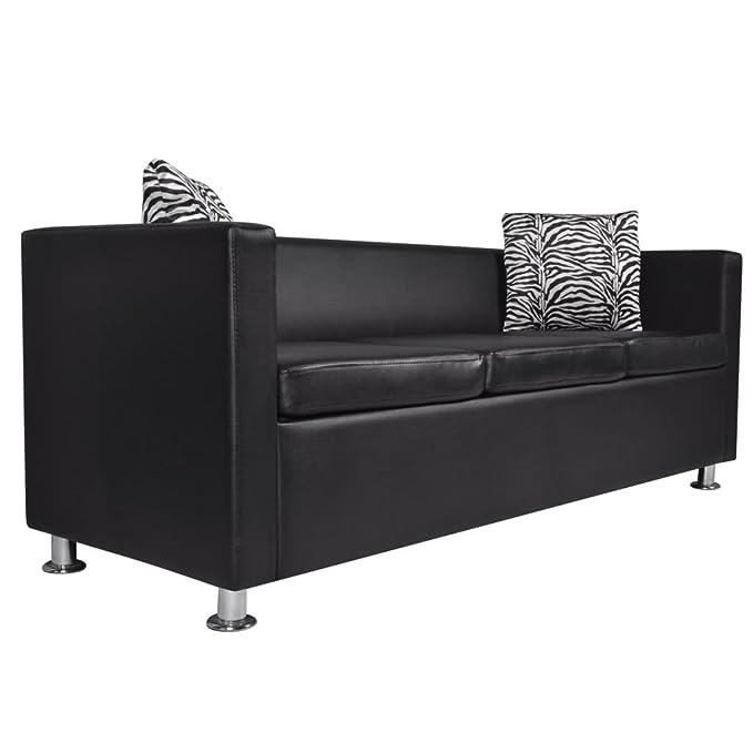 vidaXL Sofá Moderno de 3 Plazas de Cuero Artificial Negro Sillón de Salón Casa