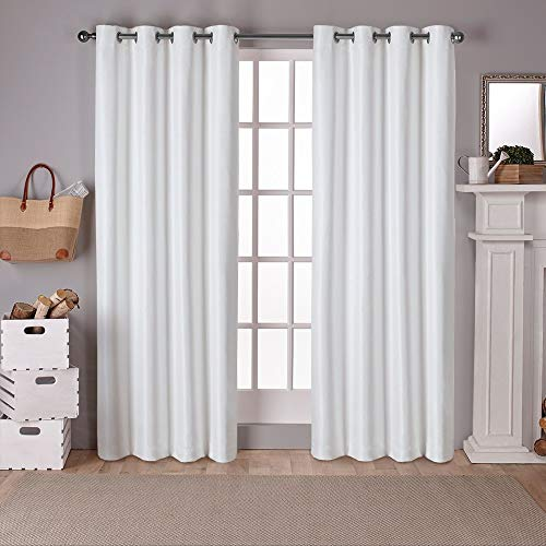 Exclusive Home Curtains Raw Silk Thermal Window Curtain Panel Pair with Grommet Top, 54x108, Off- Off-white, 2 Piece