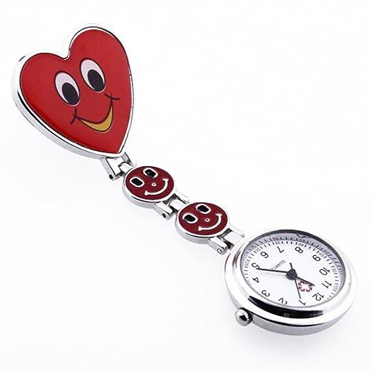 Reloj Bolsillo Metal Tipo Enfermera Cuarzo Corazón Risa Esfera Redondo Rojo: Amazon.es: Relojes