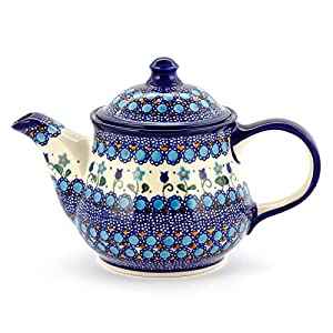 Polish Pottery, Handpainted and Handcrafted Ceramic Teapot 1300ml ― Blue Dots Unique Pattern (U006)