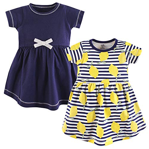 Touched by Nature Baby Girls' Organic Cotton Dress, 2 Pack, Lemons Short Sleeve, 12-18 Months (18M) -