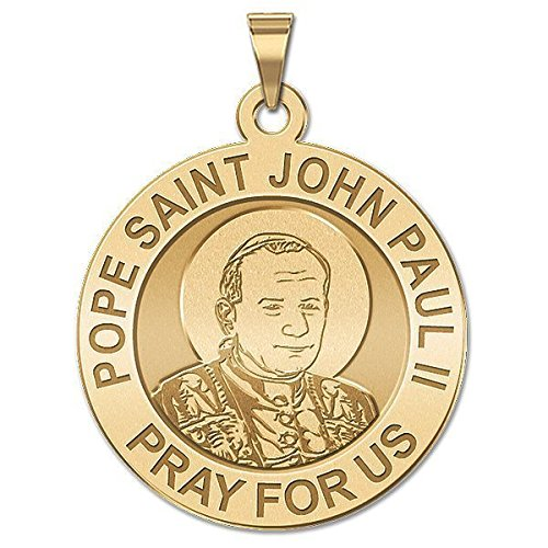 Ii John Paul Medals Pope (Pope John Paul II Medal - 1 Inch Size of a Quarter -Solid 14K White Gold)