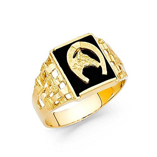Horse Head Horseshoe Ring Solid 14k Yellow Gold Black Onyx Band Good Luck Mesh Stylish Fancy, Size 10 -