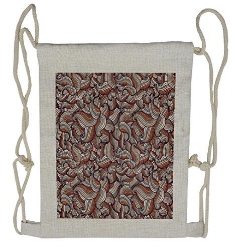 Lunarable Abstract Drawstring Backpack, Modern Wavy Motifs Pattern, Sackpack Bag (Wavy Motif)