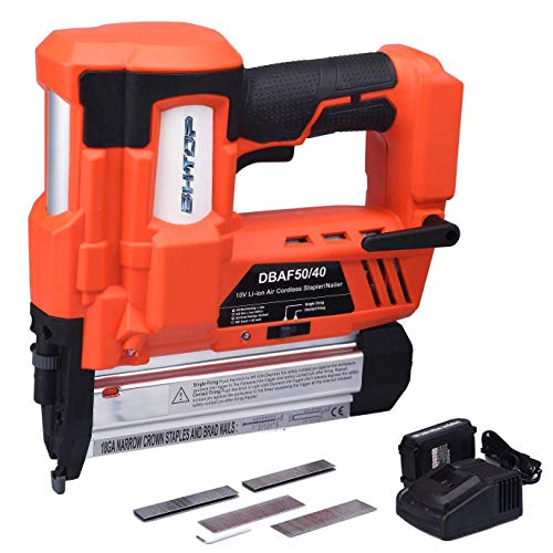 BHTOP Cordless Brad Nailer &Stapler, 2 in 1 18Ga Heavy Finish Nail Gun With 18Volt 2Ah Lithium-ion Rechargeable Battery(Charger and Carrying Case) -