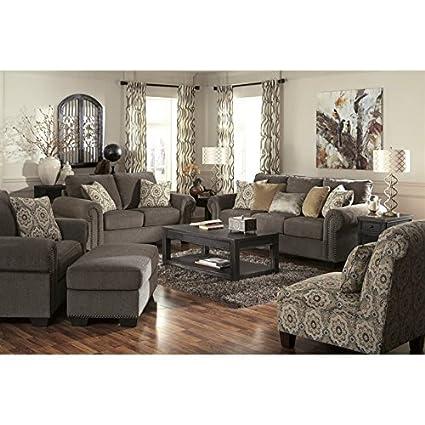Merveilleux Ashley Emelen 5 Piece Chenille Sofa Set In Straw