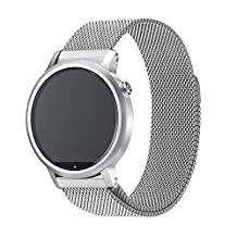 Magnetic Milanese Loop Replacement Stainless Steel Watch Band Strap for Motorola Moto 360 2nd Gen 2015 Released Version (Mans 42mm = 20mm or Mans 46mm = 22mm)