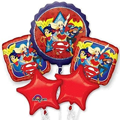 DC Super Hero Girls Birthday Balloon Bouquet - Wonder Woman, Bat Girl, Super Girl: Toys & Games
