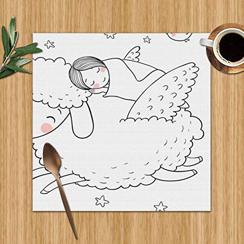 Sleeping Girl Sheep Wings Good Night Sweet Wildlife Lamb People Set Of 6 Placemats For Dining Table,Premium Reusable Place Mates,Plastic Placemats,Wipe Clean Placemats,Comic Place Mat,Dining Placemats (Toddler Won T Go To Sleep Alone)