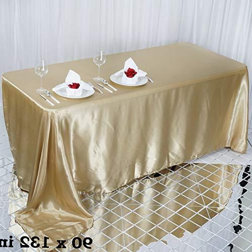 Mikash Rectangular Satin Tablecloth Dinner Wedding Party Linens Decorations Wholesale | Model WDDNGDCRTN - 9086 | 60x102 ()