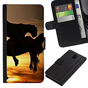 KingStore / Leather Etui en cuir / Samsung Galaxy Note 3 III / Mustang Caballos galopantes Sunset Semental