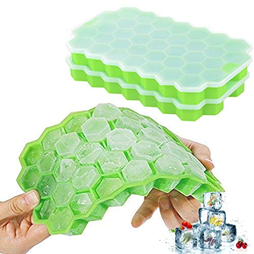 Ice Cube Trays Silicone with Lids 2 Packs DaCool Food Grade Ice Trays 74 Cubes Stackable Spill-Resistant Easy-Release Durable,BPA Free Ice Cube Molds for Whiskey Storage Cocktail Beverages,Green&Green]()
