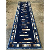 emirates Modern Geometric Long Runner Rug Dark Blue Design 504 (31 Inch X9 Feet 10 Inch)