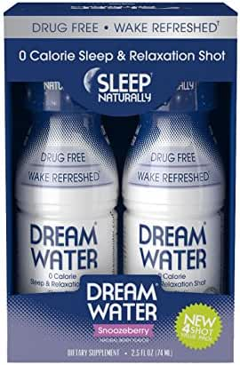 Dream Water Natural Sleep Aid, GABA, MELATONIN, 5-HTP, 2.5oz Shot, Snoozeberry, 4 Count