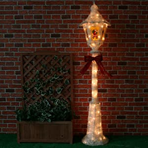 Large pre lit victorian style christmas lamp post street for Christmas decorations for outside lamp post
